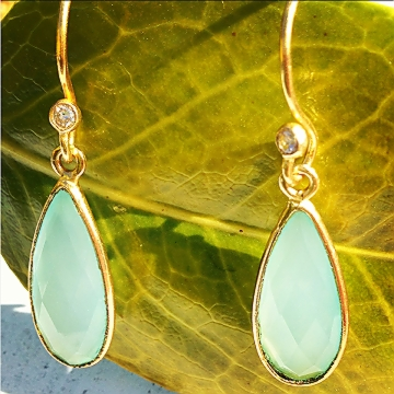 Chakraas 1950's Aqua Chalcedony Earrings